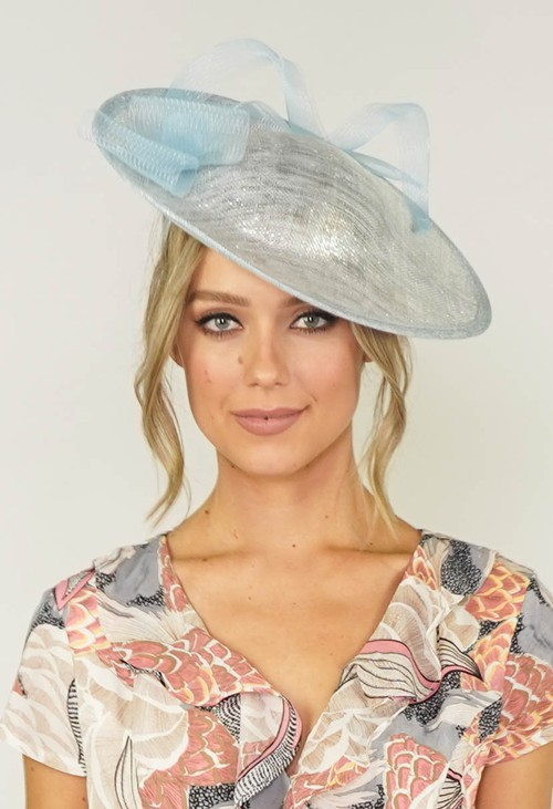 Maddox Metallic Pale Blue Disc Shape Fascinator
