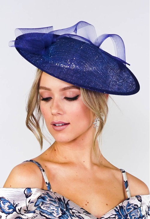 Maddox Metallic Blue Disc Shape Fascinator