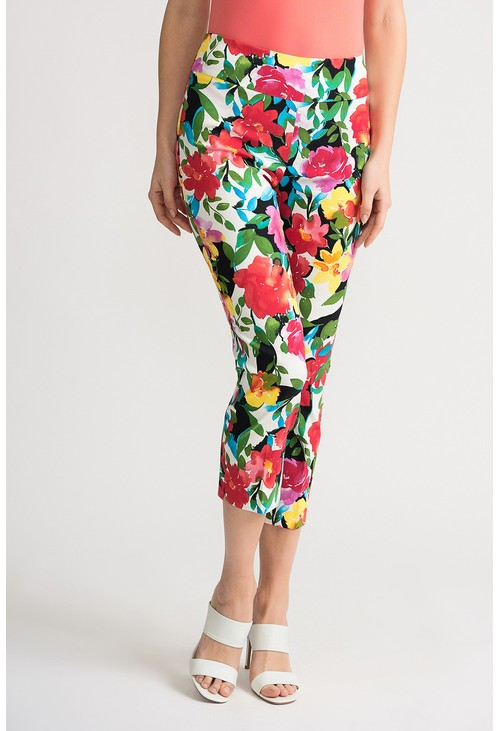 Joseph Ribkoff Flower printed trousers with white background