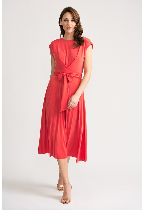 Joseph Ribkoff Dress with full pleated skirt in coral