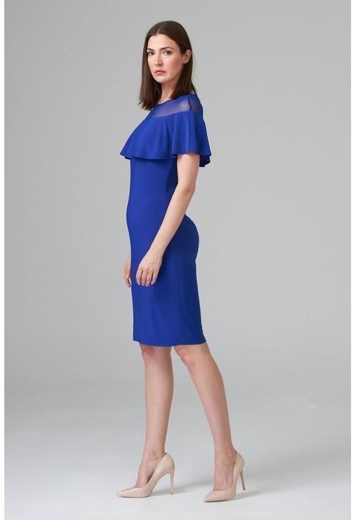 Joseph Ribkoff Royal blue cape effect dress